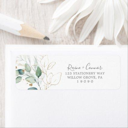 Airy Greenery and Gold Leaf Return Address Label