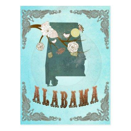 Alabama Map With Lovely Birds Cards
