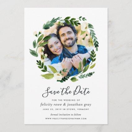 Alabaster Wreath | Photo Save the Date Card