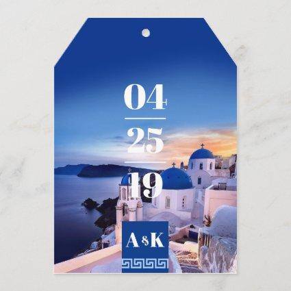 ALEXA Greek Key Luggage Tag Shaped Save the Date