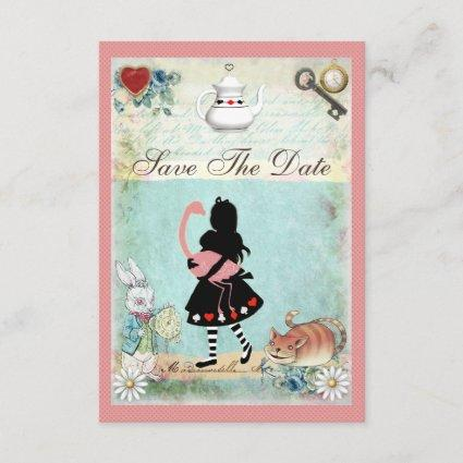 Alice, Flamingo & Cat Baby Shower Save the Date