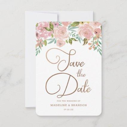 Alluring Rose Vintage Dusty Pink Floral Watercolor Save The Date