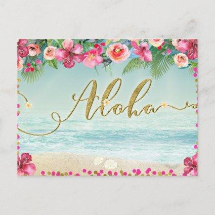 ALOHA Gold Tropical Beach Hibiscus Save the Date Announcement