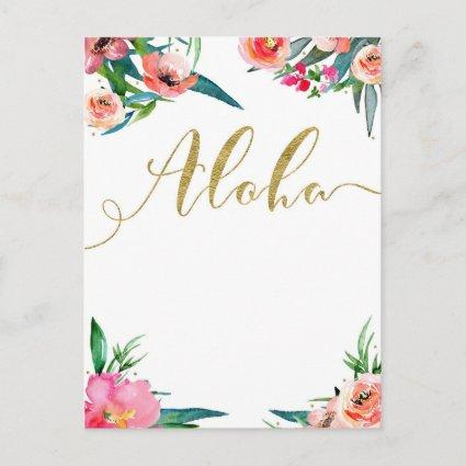 Aloha Tropical Summer Floral Modern Save the Date Announcement