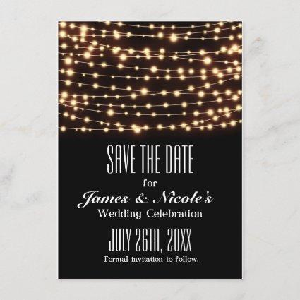 Amber Glow String Lights Save The Date Card