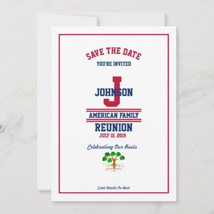 American or State Family Reunion Red White Blue Save The Date