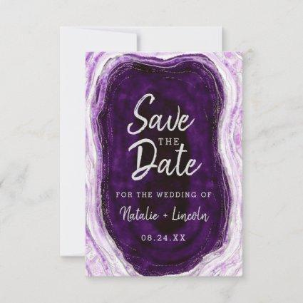 Amethyst Purple & Silver Geode Agate Marble Modern Save The Date
