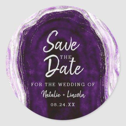 Amethyst Purple & Silver Geode Agate Save the Date Classic Round Sticker