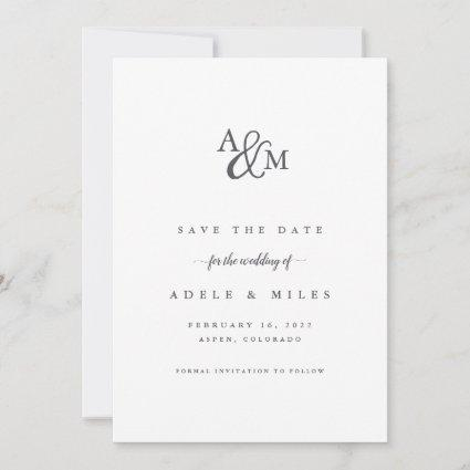 Ampersand Monogram Save the Date Card | Grey