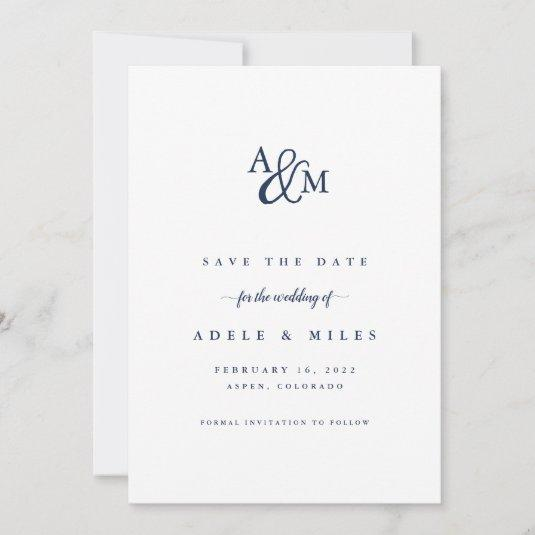 Ampersand Monogram Save the Date Card | Navy