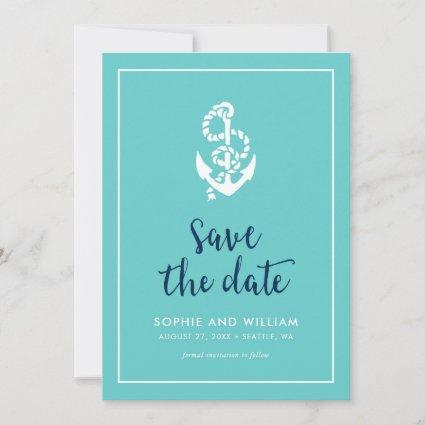 Anchor Turquoise and Blue Script Save the Date