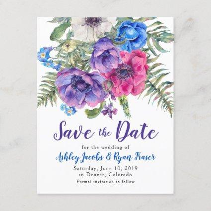 Anemone Wedding Save the Date Watercolor Floral