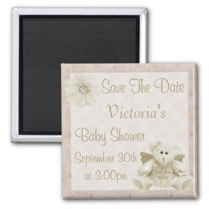 Angel Teddy Bear Save the Date Neutral Baby Shower Magnet