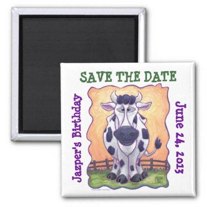 Animal Parade Cow Art Save the Date Magnet