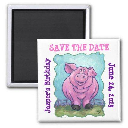 Animal Parade Pig Art Save the Date Magnet