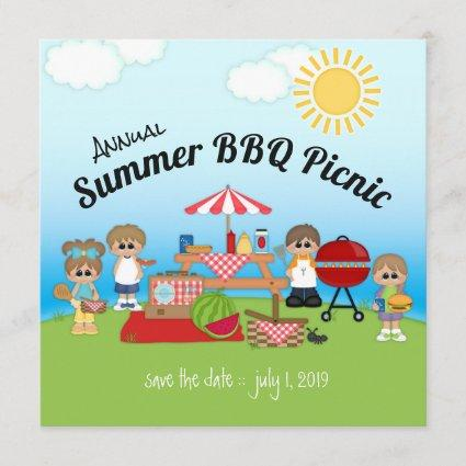 Annual Summer BBQ Picnic Party Invitation