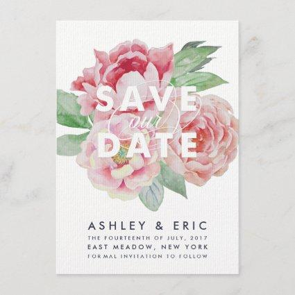 Antique Peony Save our Date Save The Date