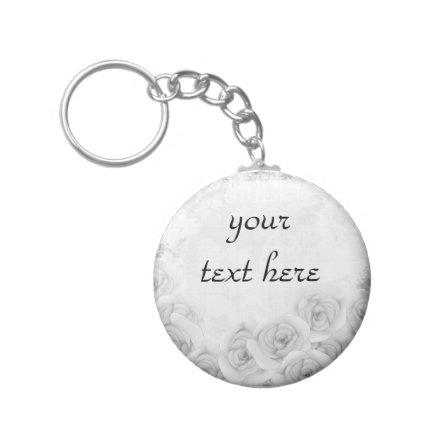 Antique roses keychain for your text