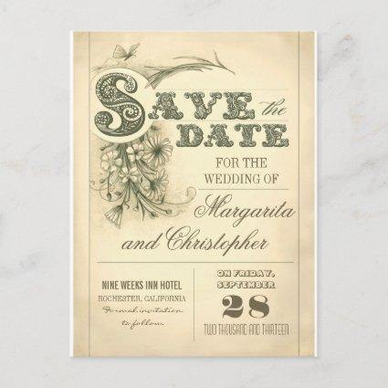 antique vintage typography save the date Cards