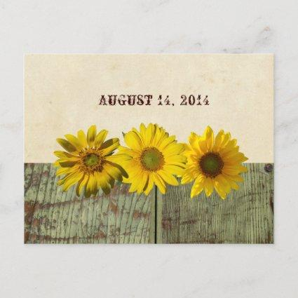Antique Wood Yellow Sunflower Save the Date Announcement