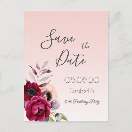 Any age birthday rose gold florals