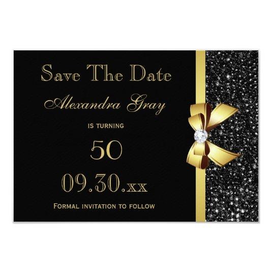 Any Age Birthday Save The Date Black and Gold 3.5x5 Paper Invitation Card