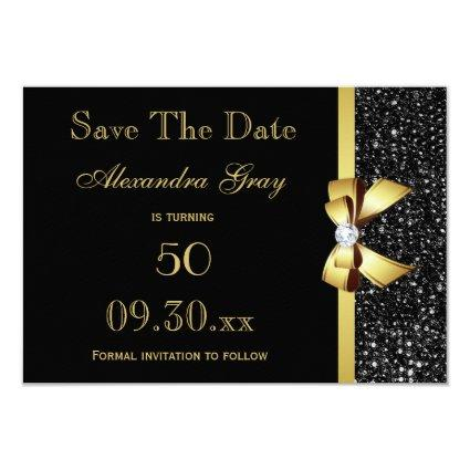 Any Age Birthday  Black and Gold Cards
