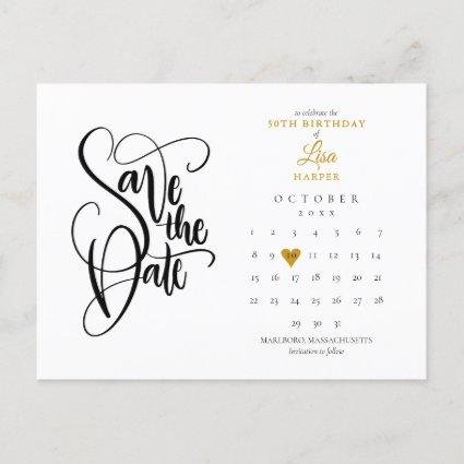 Any Age Birthday Save the Date Calendar Gold Heart Announcement