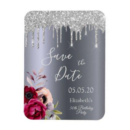 Any age birthday silver glitter drip Save the Date Magnet