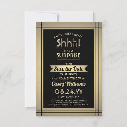 Any Age Surprise Birthday Elegant Black Gold 50th Save The Date