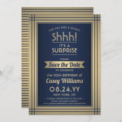 Any Age Surprise Birthday Elegant Navy Blue Gold Save The Date
