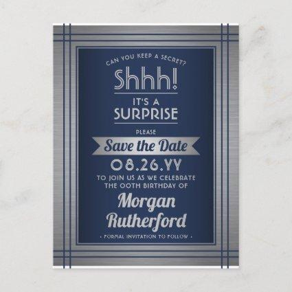 Any Age Surprise Birthday Navy Blue Save the Date Announcement