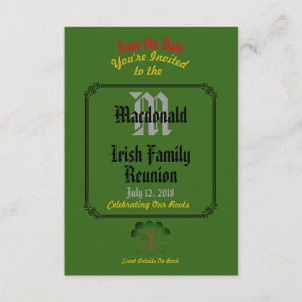 Any Name & Date Green Irish Family Reunion - Save The Date