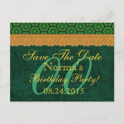 Any Year Save the Date Birthday Green and Gold v14 Announcements Cards