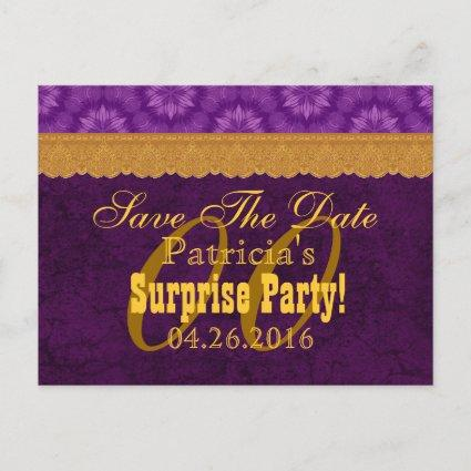 Any Year SURPRISE Birthday Save the Date Purple a1 Announcement