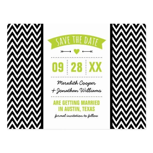 Apple Green and Black Modern Chevron Save the Date Cards