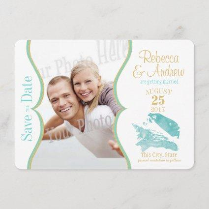 Aqua and Gold Seashell Save the Date