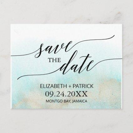 Aqua and Gold Watercolor Beach Save the Date Announcement