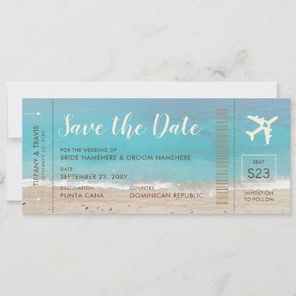 Aqua Beach Boarding Pass Ticket Save the Date Card