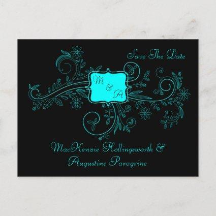 Aqua Black Monogram Floral Swirls Save The Date Announcements