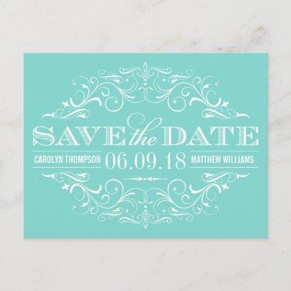 Aqua Blue Save the Date | Swirl and Flourish Announcements Cards