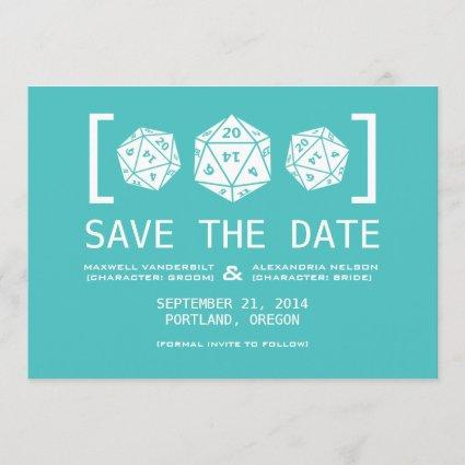 Aqua D20 Dice Gamer Save the Date Invite