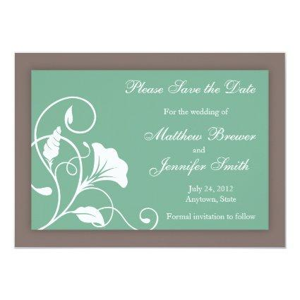 Aqua Green Save the Date Wedding Announcement