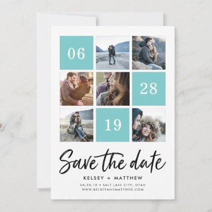 Aqua Grid Collage | Photo Save the Date