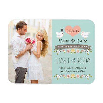 Aqua Love Birds Dove Save the Date Magnets