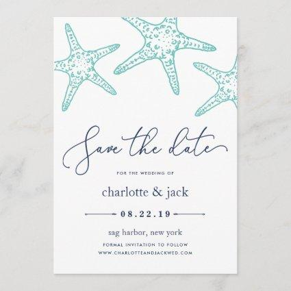Aqua & Navy Starfish Save the Date Card
