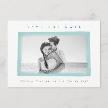 Aqua Watercolor Border | Photo Save the Date