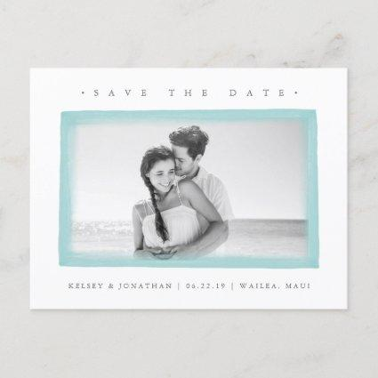 Aqua Watercolor Border | Photo Save the Date Announcement