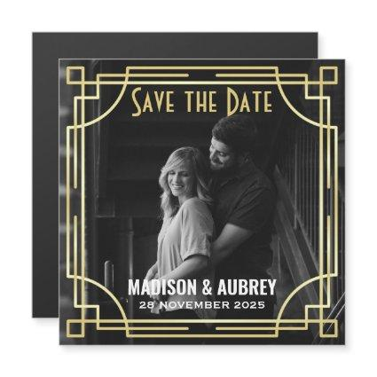 Art Deco Add Your Photo Save the Date Gold Gatsby Magnetic Invitation