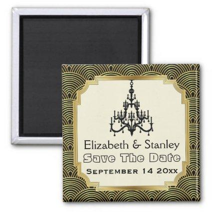 Art Deco chandelier seigaiha wedding  Magnets